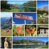 Collage grande del camino de las montan@as Imagenes de archivo