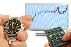 Analysis of the activity of the stock market. Royalty Free Stock Photos