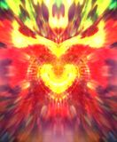 Collage graphique abstrait de symbole sacré de coeur avec les flammes rayonnantes illustration de vecteur