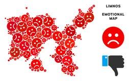 Collage grec de carte d'île de Limnos de crise de vecteur des smiley tristes illustration de vecteur