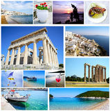 Collage Greece - ancient landmarks. Aegean Cyclades - Ionian islands - traditional food Stock Photos