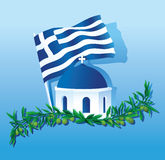 Collage of Greece Flag, church dome & olive branch Royalty Free Stock Images