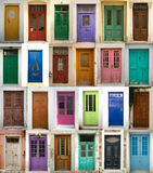 Collage of greek doors Royalty Free Stock Images