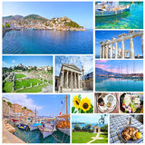 Collage with greek photos - vacation places Greece Royalty Free Stock Photos