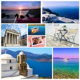 Collage Grekland - grekiska sommarfoto arkivbild