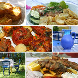 Collage griego de la cocina Fotos de archivo libres de regalías