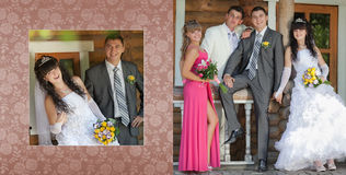 Collage - groom and the bride and the best man with the witness in park Royalty Free Stock Photo