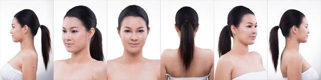 Asian Woman after applying make up hair style royalty free stock photography