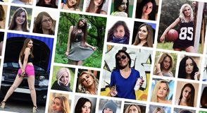 Collage group portraits of young caucasian girls for social media network. Set of round female pics isolated on a white background. Collage group portraits of royalty free stock image