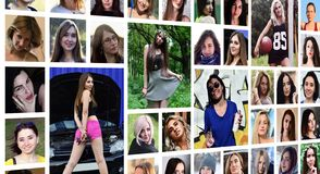 Collage group portraits of young caucasian girls for social media network. Set of round female pics isolated on a white background royalty free stock photo