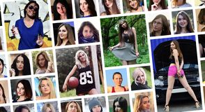Collage group portraits of young caucasian girls for social media network. Set of round female pics isolated on a white background royalty free stock photos