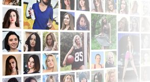 Collage group portraits of young caucasian girls for social media network. Set of round female pics isolated on a white background stock photography