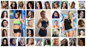 Collage group portraits of young caucasian girls for social media network. Set of round female pics isolated on a white background stock image