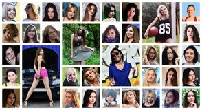 Collage group portraits of young caucasian girls for social media network. Set of round female pics isolated on a white background royalty free stock images