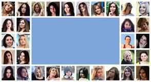Collage group portraits of young caucasian girls for social media network. Set of round female pics isolated on a white. Background with copy space royalty free stock images