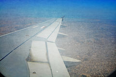 collage grunge of aeroplane landing sky aerial vie Royalty Free Stock Photos