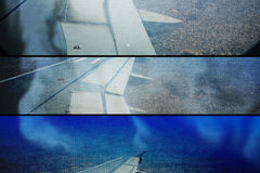 Collage grunge of aeroplane smoke on fire landing Stock Photography
