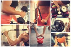 Gym equipment in gym. Collage of gym equipment in gym royalty free stock photo