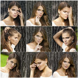 Collage haired young women Stock Images