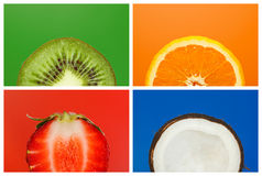 Collage of half fruits Stock Images