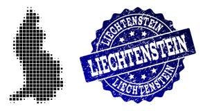 Collage of Halftone Dotted Map of Liechtenstein and Grunge Stamp Watermark stock illustration