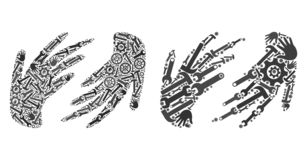 Collage Hands Icons of Service Tools stock illustration