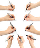 Collage of hands with pens Royalty Free Stock Images