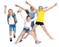 Collage, happy children jump Stock Photos