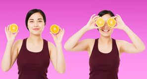 Collage happy chinese,asian woman,girl holding pieces of oranges isolated on purple background, skin care cosmetic concept, copy stock photos
