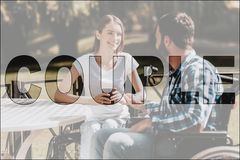 Collage Happy Disabled Couple on Date in Park royalty free stock photos