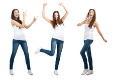 Collage of happy excited young woman Royalty Free Stock Photography