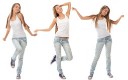 Collage of happy excited young woman dancing Stock Photography