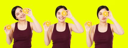 Collage happy japanese,asian woman,girl holding pieces of oranges isolated on yellow background, skin care cosmetic concept, copy stock photo