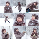 Collage, happy little girl on the background of a winter park Royalty Free Stock Photo