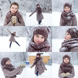 Collage, happy little girl on the background of a winter park Stock Images