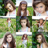 Collage, Happy little girl on corn field Royalty Free Stock Photos