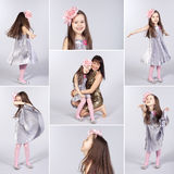 Collage of happy little girl pictures Stock Images