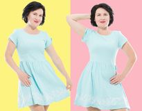 Collage of happy middle age women in fashion dress with make up isolated . Copy space. Shopping and sale concept stock photography