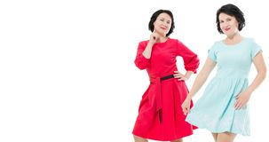 Collage of happy middle age women in fashion dress with make up isolated on white background. Copy space. Shopping and sale royalty free stock photos