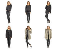 Collage happy model in winter clothing. Collage happy woman in winter clothing Stock Photos