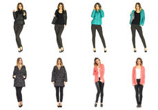 Collage happy model in winter clothing. Collage happy woman in winter clothing Royalty Free Stock Image