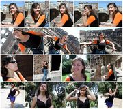 Collage happy young woman in Rome Italy Stock Photography