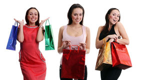 Collage - happy young women, isolated on white Royalty Free Stock Photo