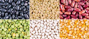 Collage of haricot beans, peas and lentil Royalty Free Stock Photo