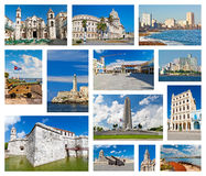 Collage with Havana landmarks Stock Photo