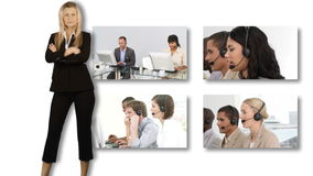 Collage of HDvideo footage of a business call centre stock video footage