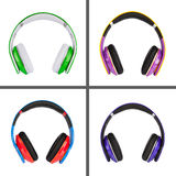 Collage of headphones different colors Royalty Free Stock Photo