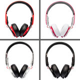 Collage of headphones different colors Stock Image
