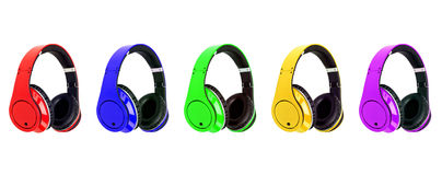 Collage of headphones different colors Stock Photography