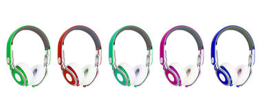 Collage of headphones different colors Royalty Free Stock Images